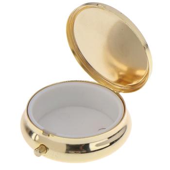 1 sztuk złoty metal okrągłe pudełka na tabletki organizer na leki pojemnik apteczka pill Candy Box tanie i dobre opinie BMPEIC Pill Box