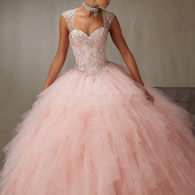 2018 New Prom gown Detachable Strap Sexy Fluffy Sequin Plus Size Women Vintage Quinceanera Sweethear