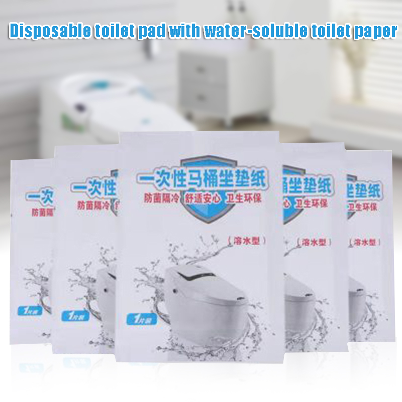 50pcs Disposable Toilet Seat Cover Soluble Paper Toilet Pad Travel Hotel Bathroom Supplies New FS99