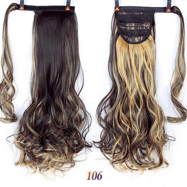 HOUYAN 24 дюймов длинные толстые прямые волосы кудрявые волосы синтетические волокна конский хвост обернутый парик длинный парик конский хвост парик - Цвет: 106