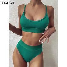 INGAGA-Bikinis de cintura alta para mujer, traje de baño de realce, Bikini brasileño liso acanalado con tirantes, trajes de baño 2021