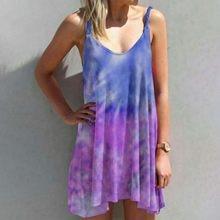 Vintage gradiente impressão vestidos femininos verão casual sem mangas multicolorido vestido plus size camisola vestidos longos de verao