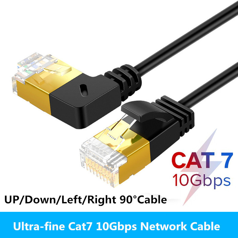 Ethernet Cable RJ45 Cat7 Lan Cable UTP RJ45 Network Cable for Cat6 Compatible Patch Cord 90 Degree Right Angle 10Gbps 0 5m 1m