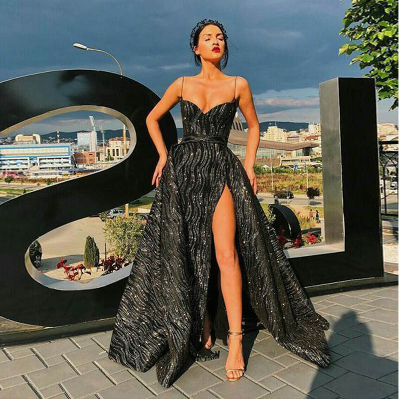 Robe De Soiree Longue Cheap Black Sexy Shiny V-neck Straps Evening Dresses Sequined Sparkle Prom Party Gowns Maxi Dress