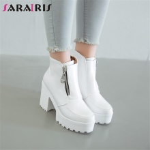 SARAIRIS New Big Size 33-43 Fashion Zip Booties Ladies High Platform Ankle Boots Women Autumn Chunky Heels Shoes Woman