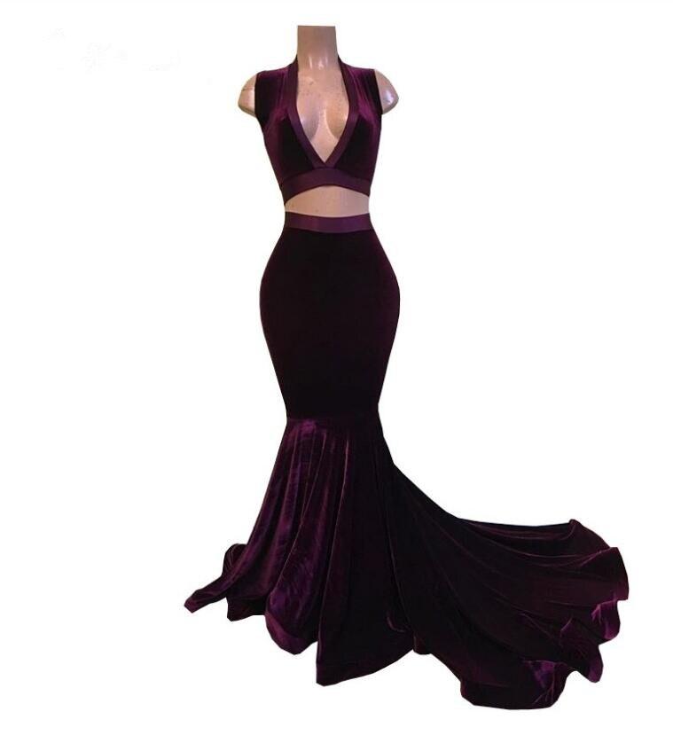 Velours De raisin 2 pièces sirène robes De bal 2019 pour les filles africaines noires col en V Simple Long Vestido De Festa pour les robes De fête