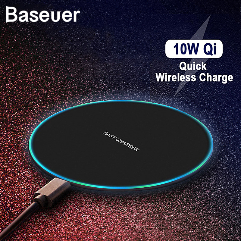 Baseuer 10W Wireless Charger LED Breathing Light Qi Fast Wireless Charging Pad For IPhone X XS 8 Samsung Huawei P30 Xiaomi