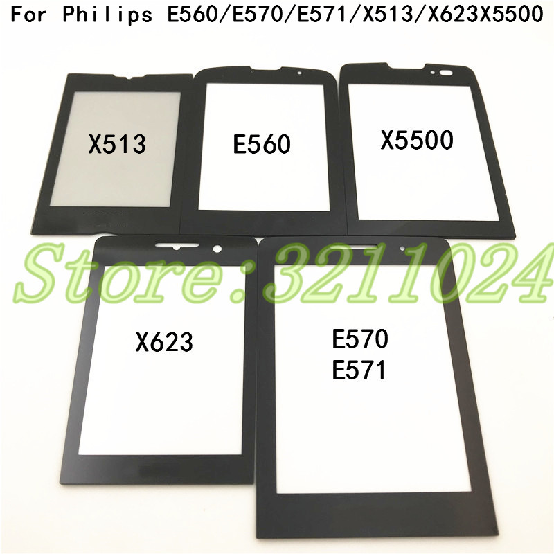 100% New Original Black Front Glass Lens For <font><b>Philips</b></font> Xenium <font><b>Philips</b></font> E560 <font><b>E570</b></font> E571 X513 X623 X5500 Not Touch Screen+Logo image