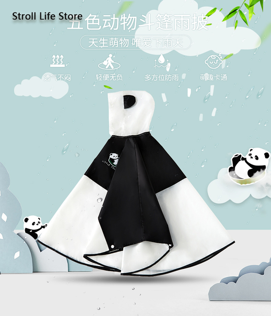 Cute Panda Kids Rain Coat Girls Waterproof Transparent Animal Poncho Rain Jacket Children Clear Rain Partner Capa De Chuva Gift 5