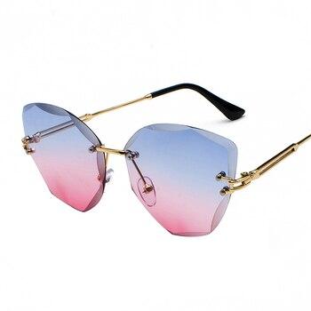 XaYbZc DESIGN Fashion Lady Sun glasses 2020 Rimless Women Sunglasses Vintage Alloy Frame Classic Brand Designer Shades Oculo