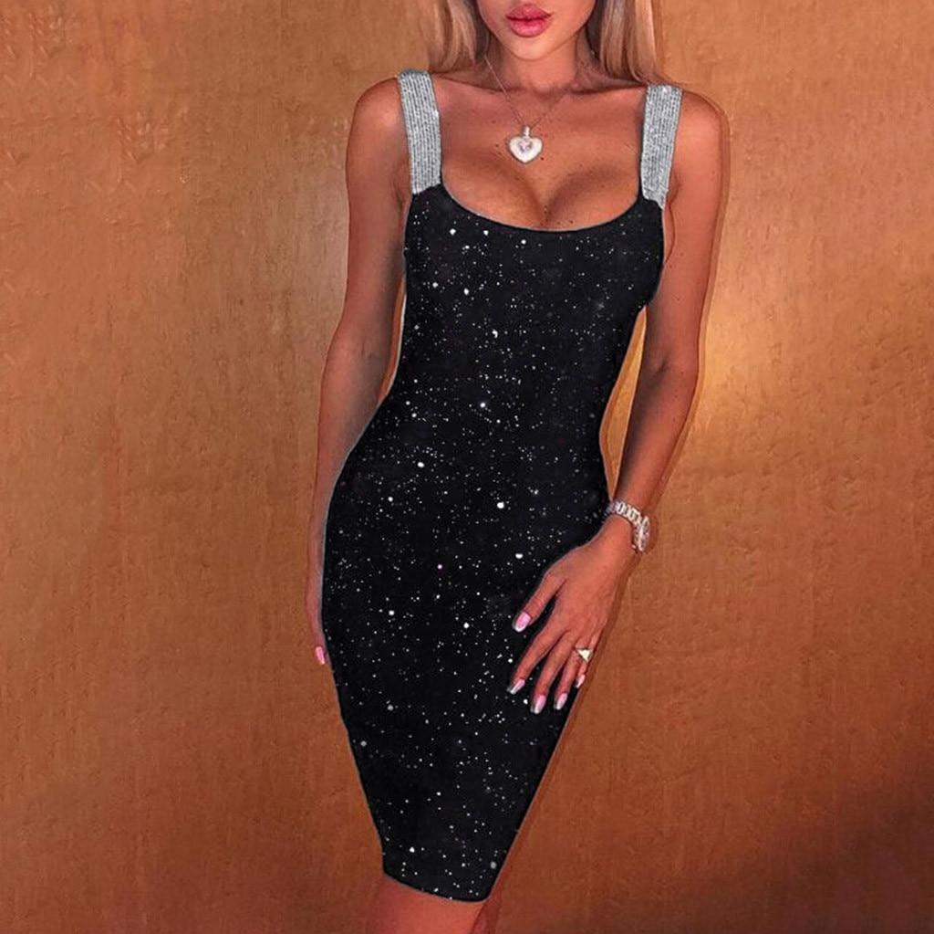 vestido de mujer Women Sexy Sleeveless Glitter Shimmer Backless Sheath Dress Party Club Cocktail femme robe