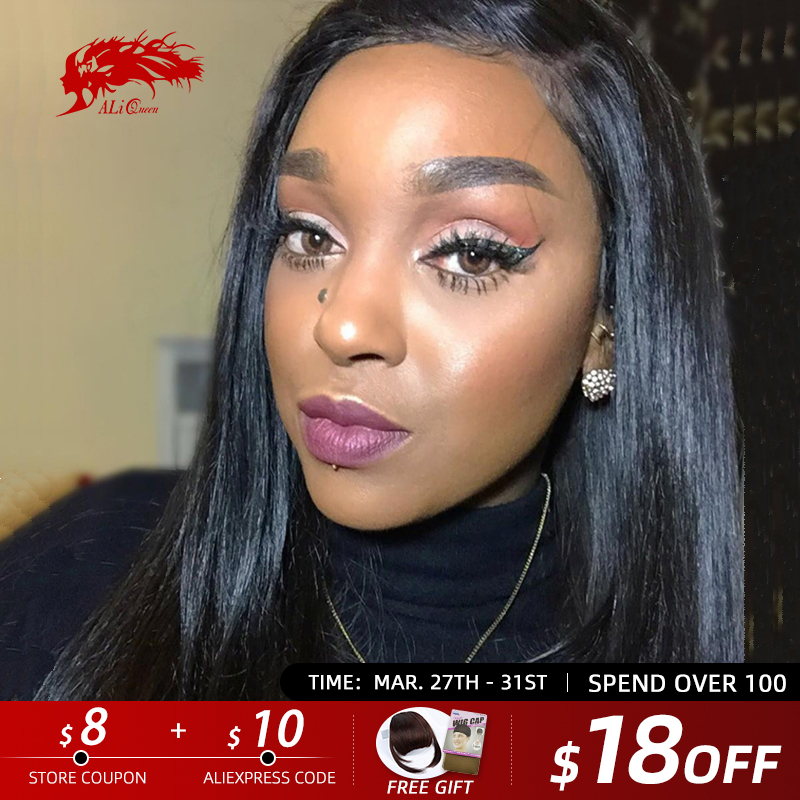 Ali Queen Hair 13X4/13x6 Straight Lace Front Wig Natural Color 360 Lace Frontal Wig 8