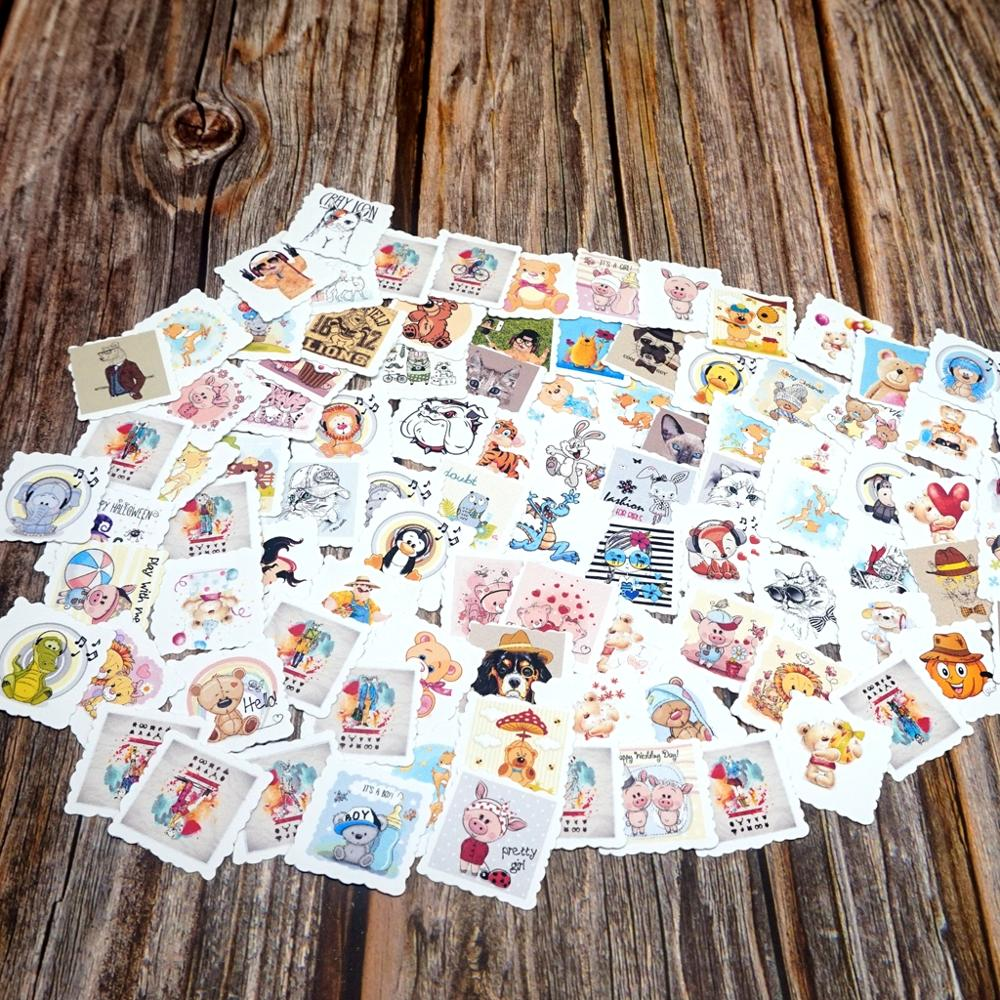 100PCS Lovely Animals Waterproof Stickers DIY Laptop Phone Pad Bicycle Guitar Suitcase Skateboard Sticker Cute Gift Stickers Toy