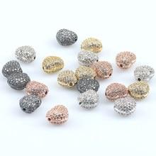 3 pçs/lote CZ Spacer Beads Amor Do Coração Forma de Cristal do Metal de Bronze Micro Pave Cubic Zirconia Beads para Fazer Jóias Diy pulseiras