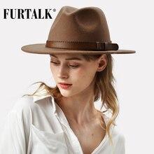 FURTALK 100% أستراليا قبعة فيدورا من الصوف النساء الرجال قبعة السيدات Fedoras واسعة حافة الجاز قبعة لبّاد خمر دلو بنما قبعة الشتاء