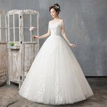Vestido de novia sin hombros 2019 nuevo corazón ligero y Simple vestido de boda de talla grande vestido de novia largo hasta el suelo