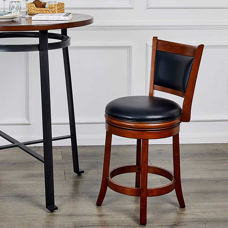Wooden Bar Rotating Chair Vintage Retro Craft PU Leather Bar Stool Home Bar Chair Solid Wood High Chair High Bar Stool
