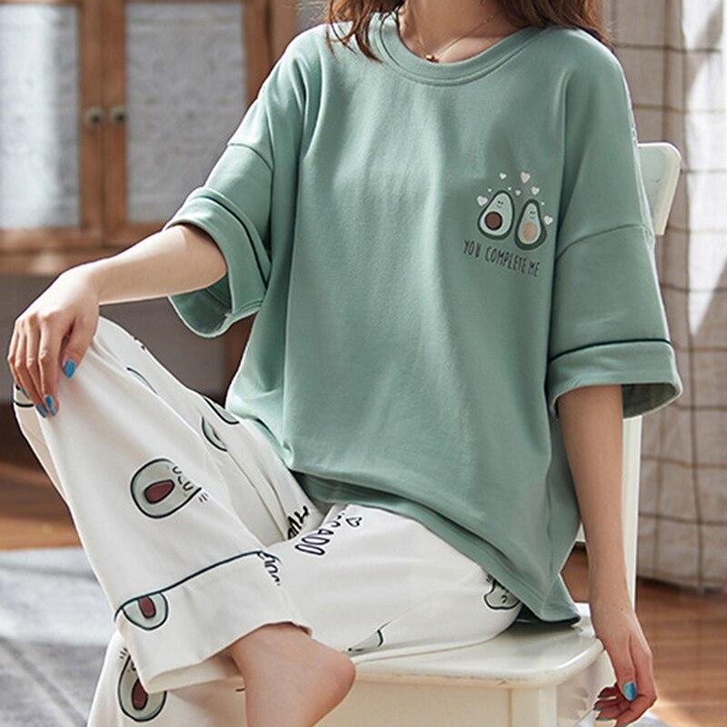 Пижамные комплекты, милые женские пижамы с принтом, пижамы с короткими рукавами, милая Домашняя одежда с круглым вырезом, Mjuer, одежда для сна, домашняя одежда для женщин