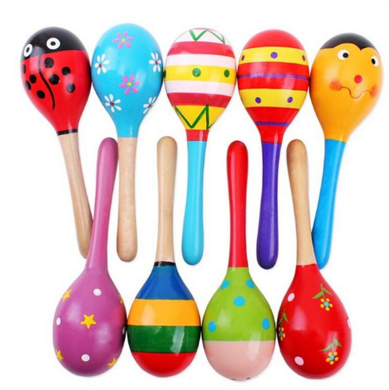 1Pcs Colorful Baby Toys Wooden Maracas Ball Rattle Kids Toys Sand Hammer Rattle Learning Musical Hammer Handle Baby Wooden Toys