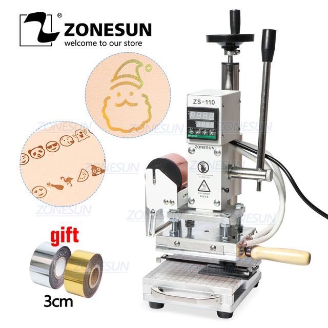 ZONESUN Hot Foil Stamping Machine For Customs logo Slideable Workbench  Leather Embossing Bronzing Tool for Wood PVC DIY Initial