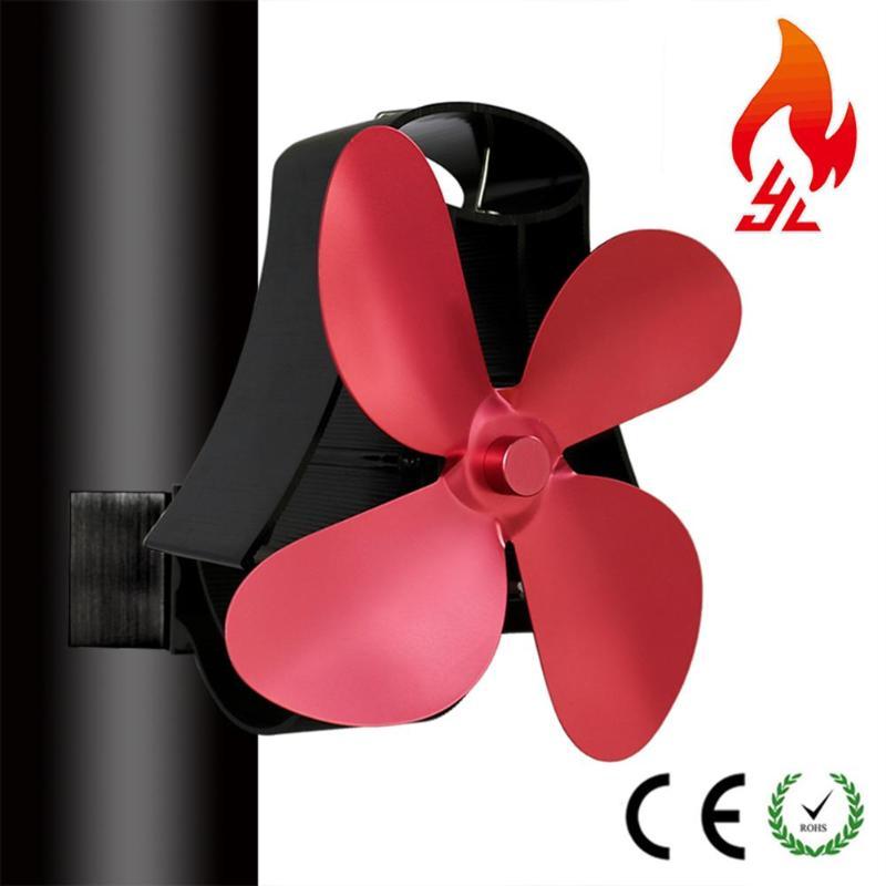 4 Blades Fireplace Fan Aluminum Heat Powered Burner Stove Fan Low Noise Thermal Fan Home Heat Sink Ventilation Device