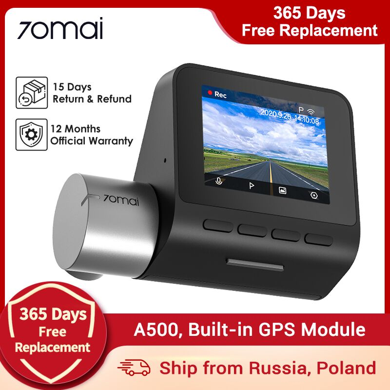 Купон US $5.00 70mai Dash Cam Pro Plus 70mai A500 Встроенный GPS координаты скорости ADAS Car DVR Cam 24H монитор парковки 1944P