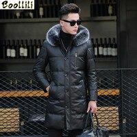 Boollili Genuine Leather Down Jacket Men Winter Long Mens Sheepskin Coat Fox Fur Collar Chaqueta Cuero Hombre