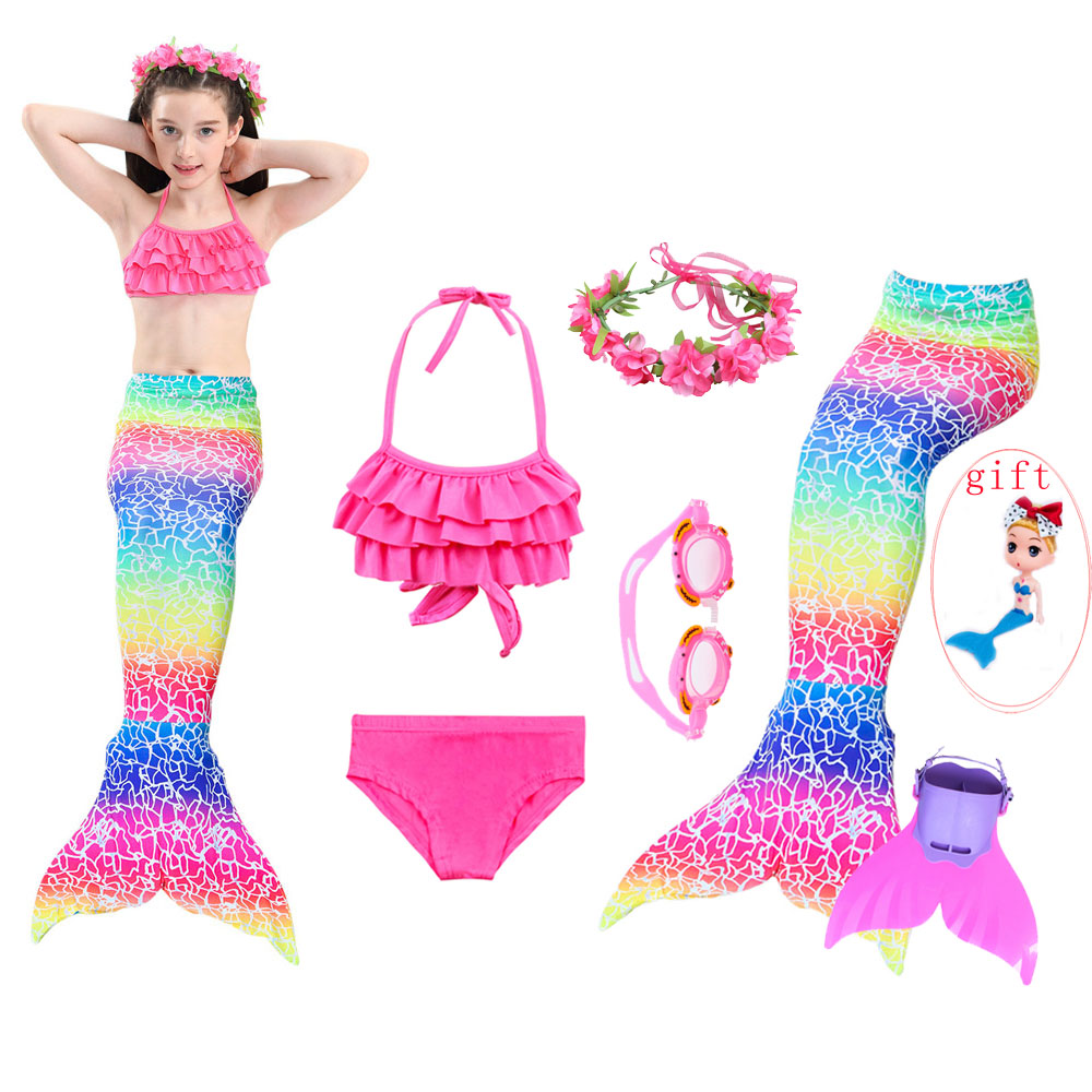 Girls Mermaid Tail for Kids Swimming Costumes Children Swimsuit Bikini Bathing Suit Cosplay Dress With Monofin Fin Birthday gift title=