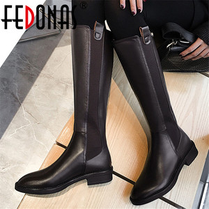 FEDONAS Genuine Leather High Boots Women Winter Warm Back Zipper Party Basic Shoes Woman Riding Boots Round Toe Knee High Boots