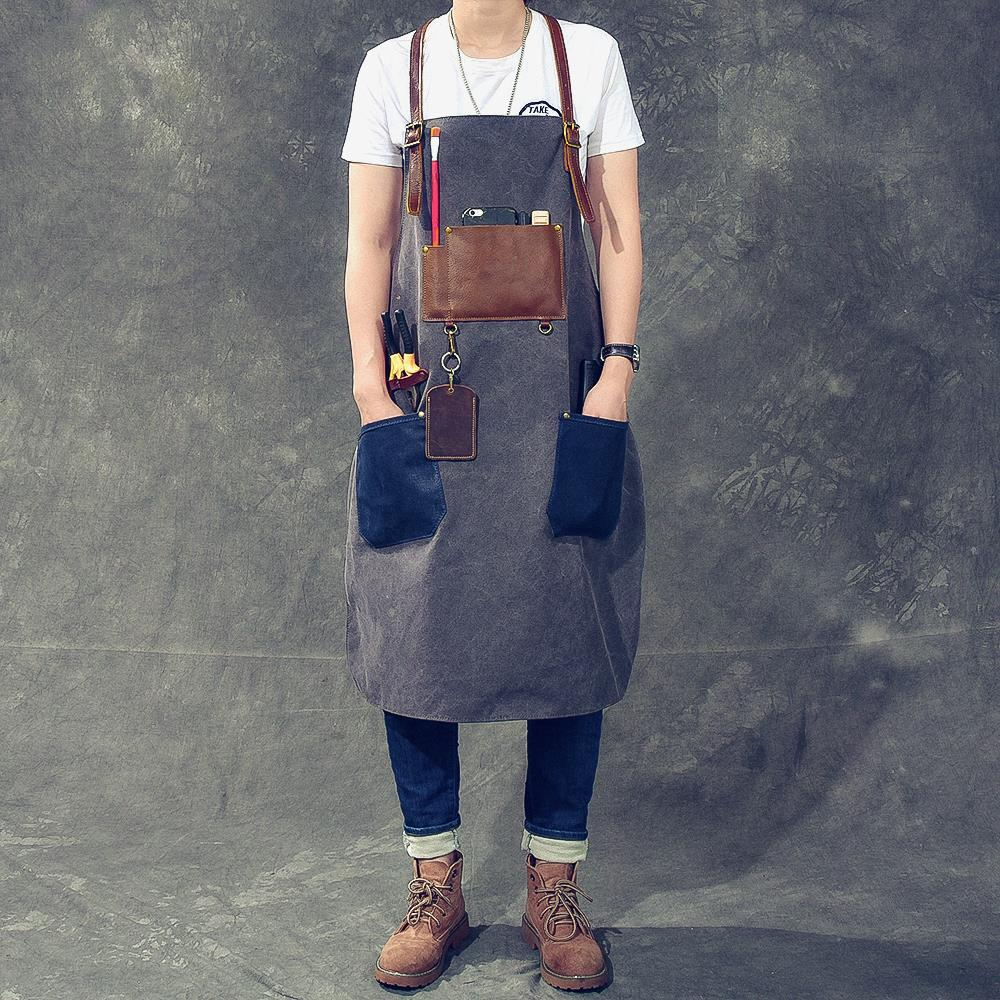 Man Women Canvas Apron Cotton Real Leather Strap Barber Florist Gardener Painter Work Wear Barista Bartender Waitstaff Uniform