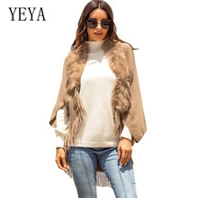 YEYA Explosion Tassel Khaki Cloak Shawl Fur Collar Solid Color Cardigan Sweater Autumn Knitted Female Graceful