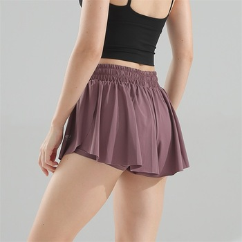 New High Waist Gym Shorts Women Loose Running Quick Dry Breathable Fake Two Anti-lighting Yoga Pants 2
