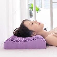 Mais novo nenhum travesseiro de pressão alta elasticidade ortopédico pescoço ombro dor massagem proteção almofadas cervicais sono fresco roxo