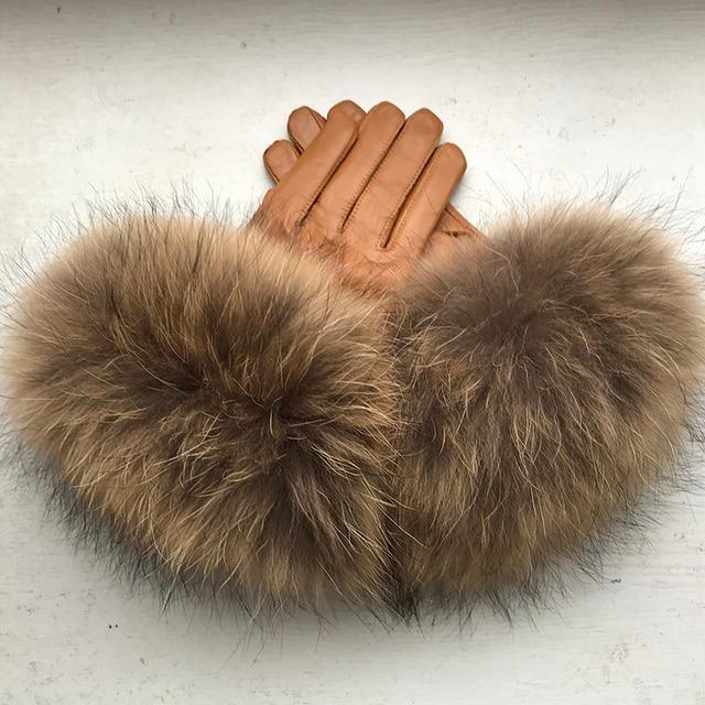 Настоящие меховые перчатки енота женская натуральная кожа лиса