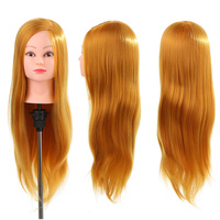 24 Mannequin Head 50% Real Human Hair Hairdressing Cutting Braiding Practice Dummy Head Training Head + Clamp Holder Styling