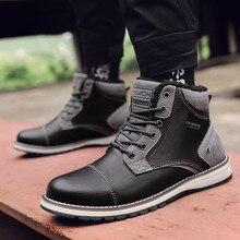 Мужская обувь зимние сапоги Для мужчин на открытом воздухе британский стиль зимние сапоги Дикий плюс бархат теплая хлопчатобумажная обувь мужские ботинки Повседневная обувь