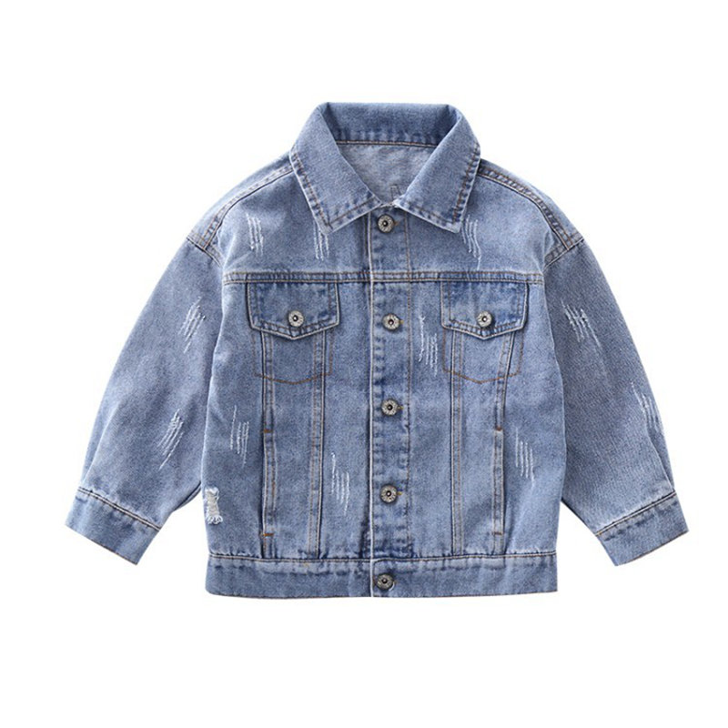 Image 2 - Girl Coats Kids Spring Autumn Denim Jackets for Girls Letter Embroidery Clothes Blue Cotton Jeans Outerwear Tops Kid Clothes NewJackets & Coats   -