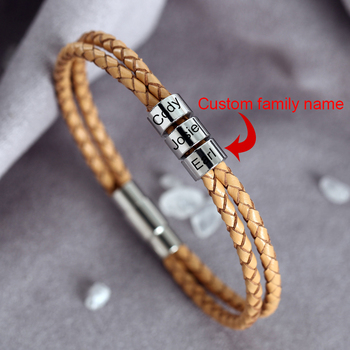 Custom Name bracelet men women Personalized bracelet Engraving Custom letter Stainless Steel Cowhide rope couples bracelet men stainless steel bracelet men s bracelet women s bracelet elastic bracelet retro bracelet women s personality bracelet