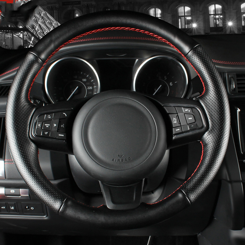Custom Car steering wheel for Jaguar F-PACE XF 2016 F-TYPE 2013-2019 XFL 2017/2018 XEL2018/2019 E-PACE interior Steering cover