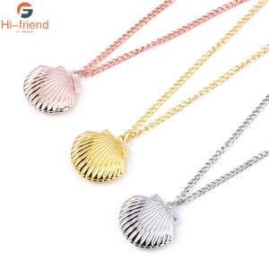 3 Colour fashion jewelry movie seashell Clam Beach Mermaid Photo Locket Chain charm Necklace(China)