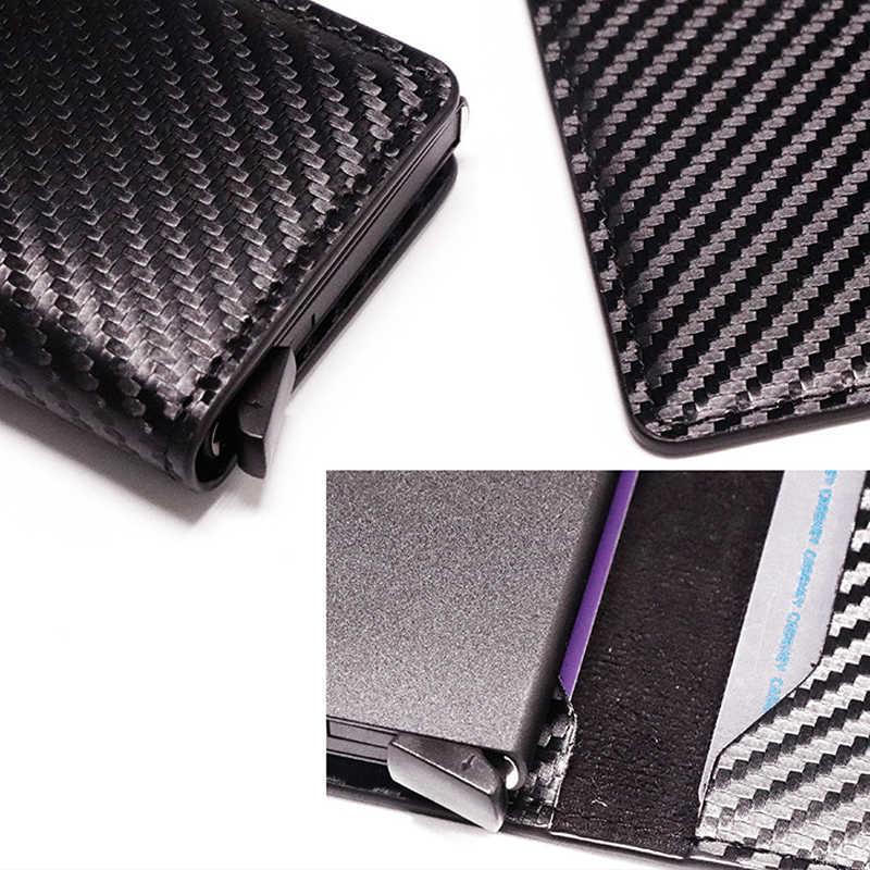 DIENQI Carbon Faser Rfid Kreditkarte Halter Männer Metall Stahl Smart Brieftasche Fest Schlank Karteninhaber Leder Karte Tasche Fall Karte -halter