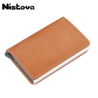 Nistova PU Leather Automatic Pop-up Business Card Card Holder RFID Vintage Aluminium Box Metal Crazy Horse Wallet  Steel Wallet