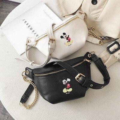 Disney New Cartoon Mickey Mouse Lady Fashion Belt Bag Messenger Bag Women Shoulder Bag Mini Waist Pack Chest Bag