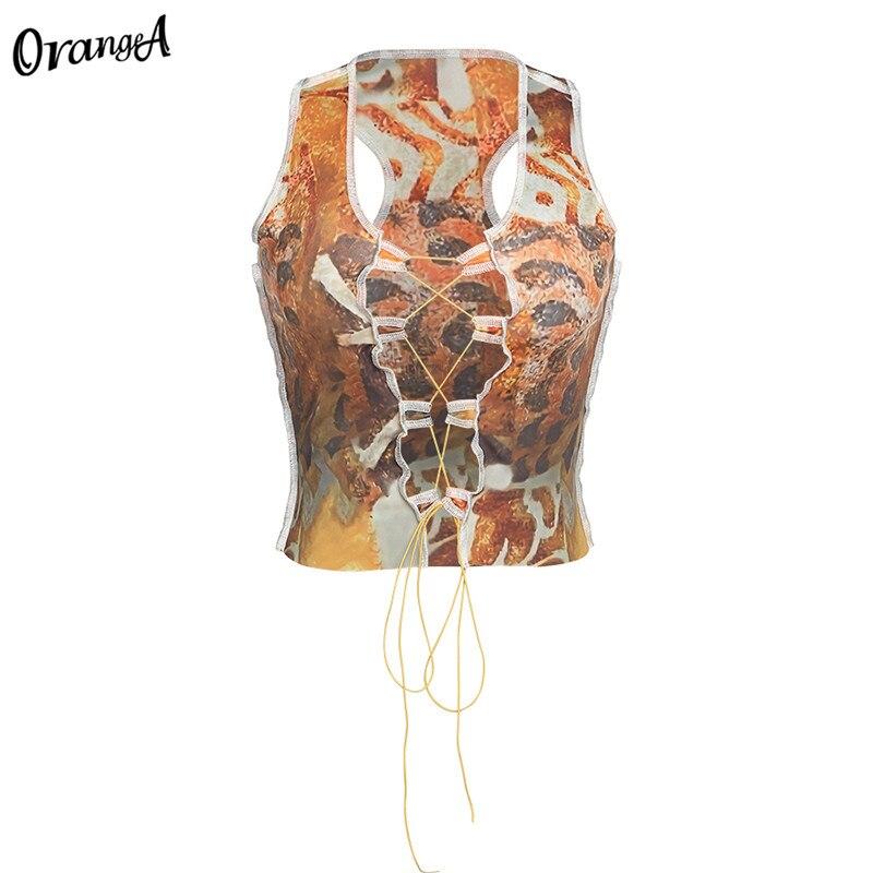 OrangeA summer women y2k sexy hollow out tank tops drawstring bandage fashion sleeveless colorful print party skinny clubwear 8