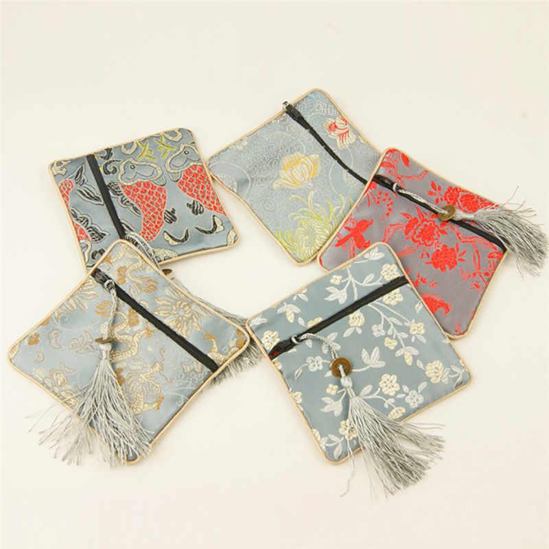 Monederos chinos de moda con brocado de seda, cremallera, bolso de joyería pequeño con borlas, bolso de Teléfono Universal, regalos de recuerdo para niños