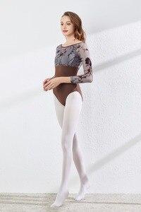 Image 4 - Long Sleeves Ballet Leotard Advanced Grey Printed Practice Ballet Dancing Costume Women Gymnastics Leotard Dance Coverall