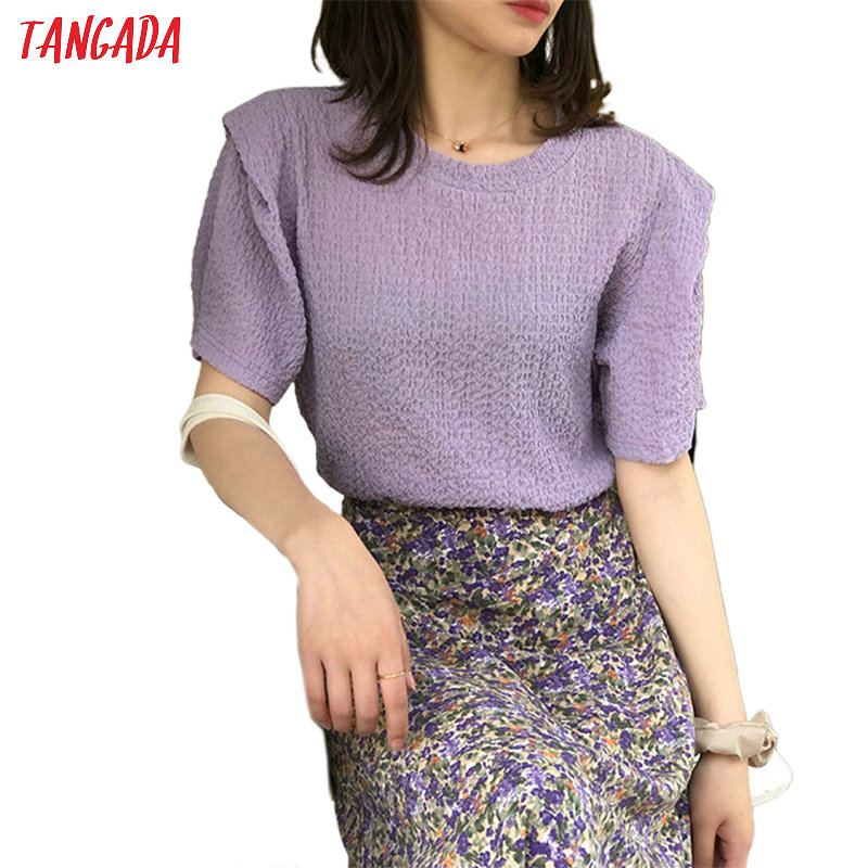 Tangada Women Vintage Pleated Shirt Puff Short Sleeve O Neck Ladies Casual Summer Top Street Wear ASF70