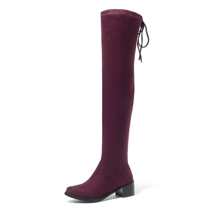 Stretch Cloth Thigh High Boots Women Autumn Winter Mid Heel Shoes Woman A328 Fashion Ladies Cross Strap Over The Knee High Boots in Over the Knee Boots from Shoes