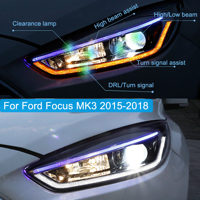 Car styling case for Ford Focus MK3 2015 2016 2017 Headlights LED Headlamp DRL All Lens Turn Signal Lamp Hight/Low Beam Assembly