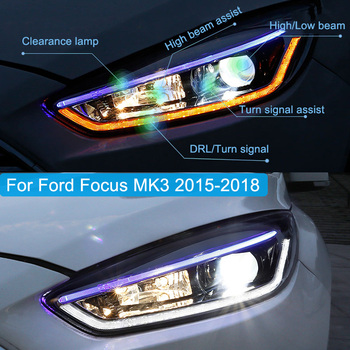 цена на Car styling case for Ford Focus MK3 2015 2016 2017 Headlights LED Headlamp DRL All Lens Turn Signal Lamp Hight/Low Beam Assembly